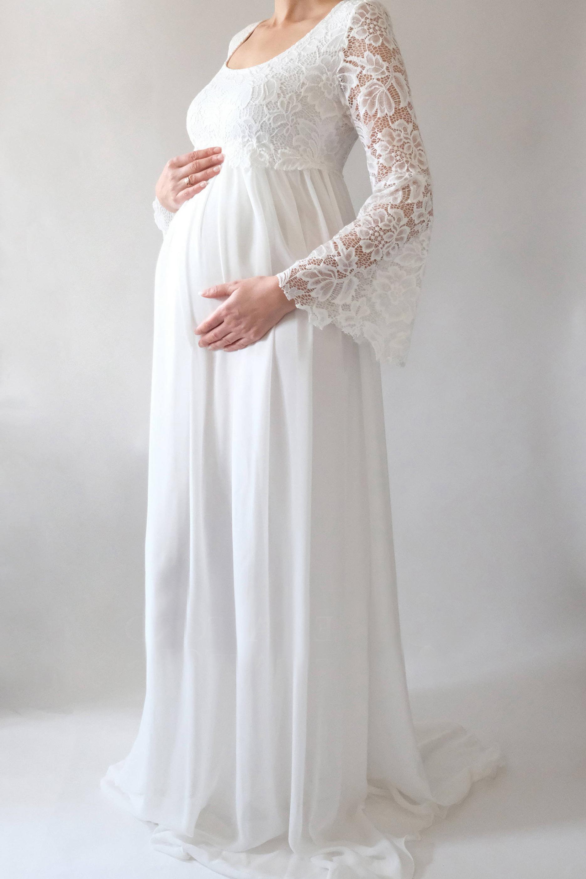Schöne U Ausschnitt Brautkleid Schwanger Empire Lang Chiffon Spitze Mit  Ärmel