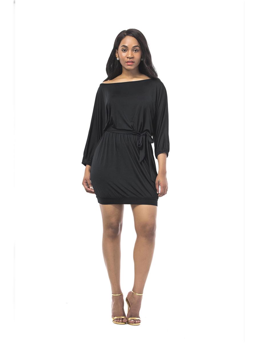 berühmte Designermarke neuartiger Stil klar in Sicht Schulterfreies Kleid Dunkelblau Etuikleid Kurz Mit Ärmel Gürtel Carmen  Ausschnitt