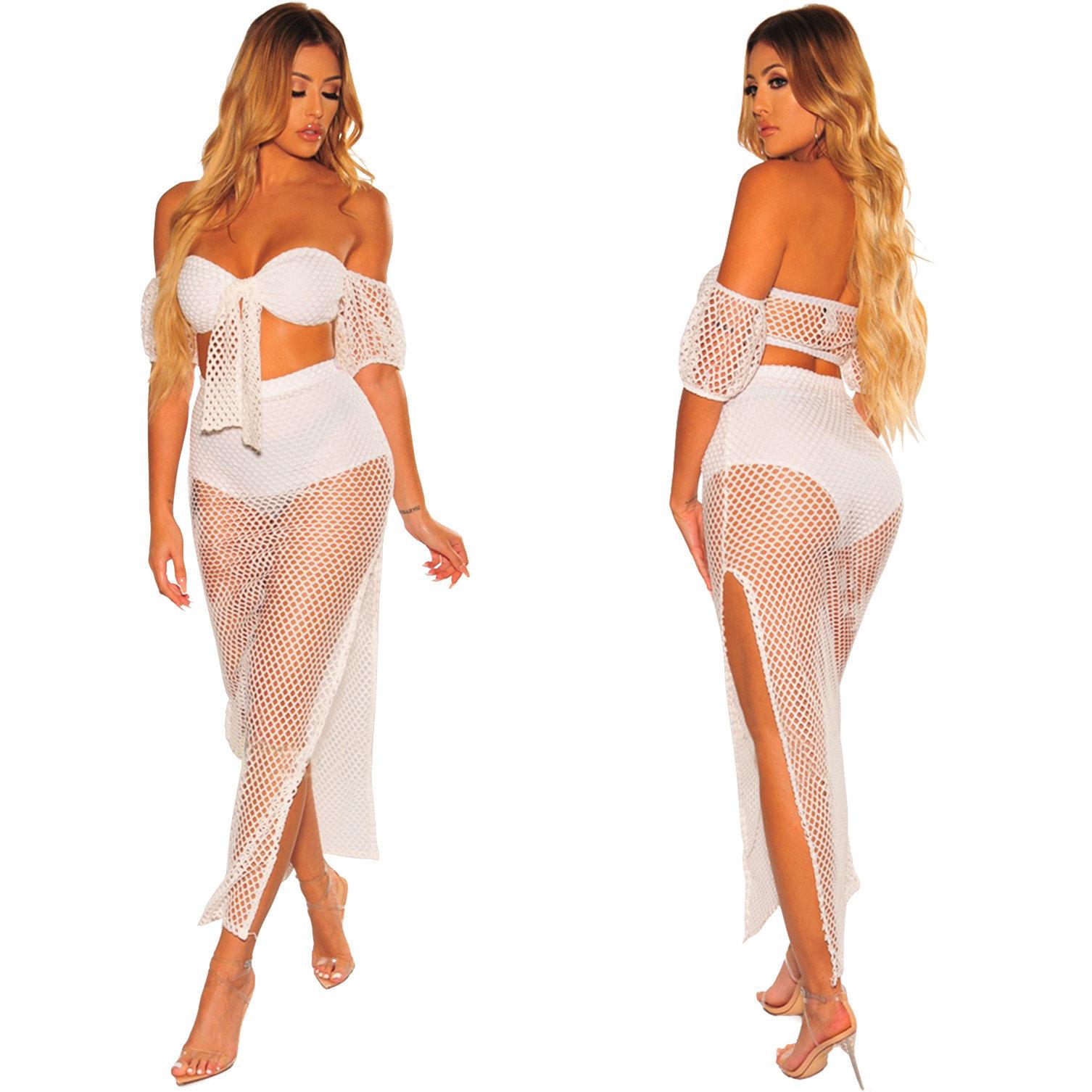 sommer netzkleid strandkleider lang kleid zweiteilig transparent mit schlitz