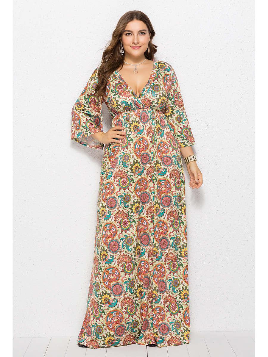Sommer Strand Blumen Kleid Empire Große Größen Maxikleid übergröße Mit Ärmel