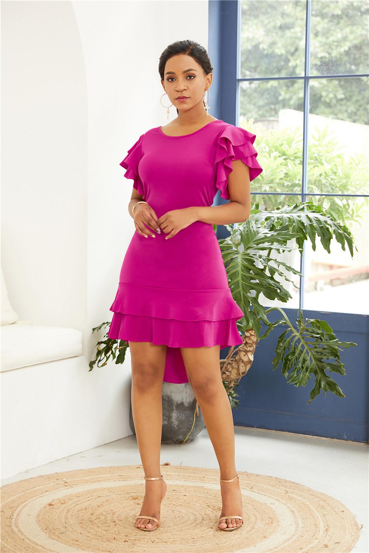Vokuhila Wickelkleid Etuikleid Cocktail Kleid Pink Kurz Mit Rüschen Ärmel