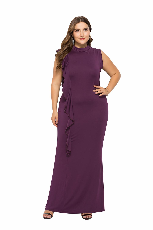 Wickelkleid Große Größen Etuikleid Für Mollige Kleid Hochgeschlossen Lang  Lila Jersey Mit Rüschen