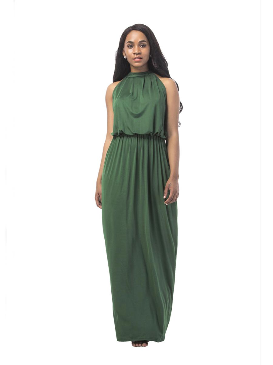 kleid olivgrün lang
